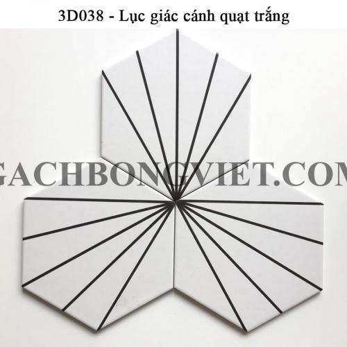 Gạch bông men lục giác, LGM - Cánh quạt trắng