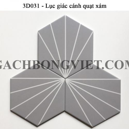 Gạch bông men lục giác, LGM - Cánh quạt xám