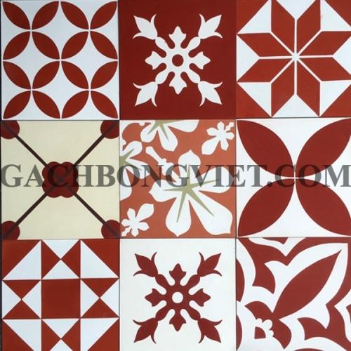 Gạch bông Patchwork đỏ