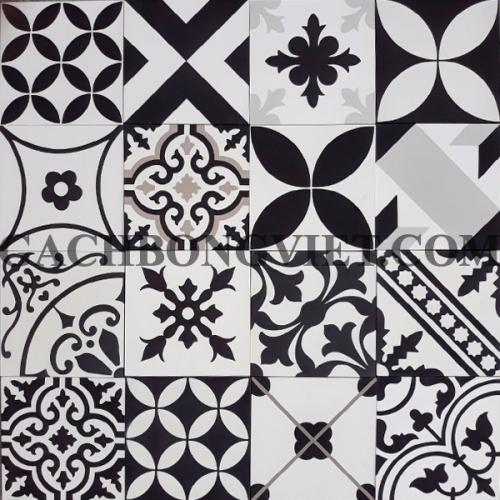 Gạch bông Patchwork trắng đen xám