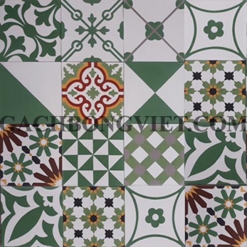 Gạch bông Patchwork xanh lá