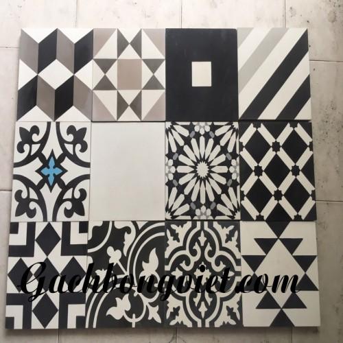 Gạch bông V20, Patchwork trắng đen xám