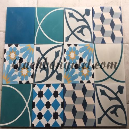 Gạch bông V20, Patchwork xanh