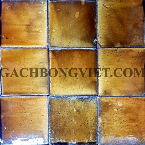 Gạch gốm nung 10x10 cm, Vàng cam