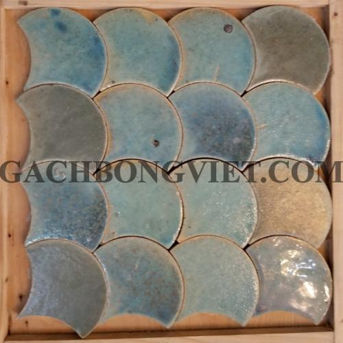 Gạch gốm nung Vẩy cá, xanh dương nhạt