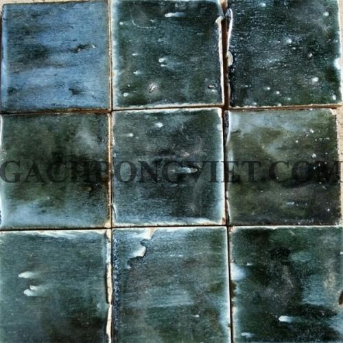 Gạch gốm nung 10x10 cm, Xanh rêu đậm