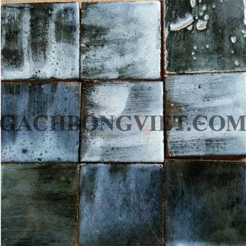 Gạch gốm nung 10x10 cm, Xanh rêu trắng